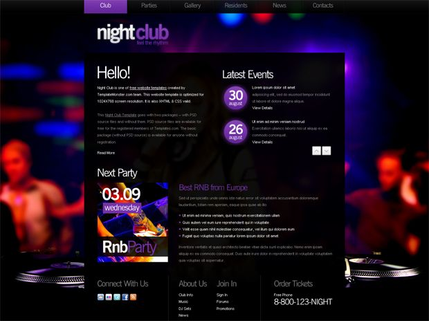 Free Website Template with Background Image for Night Club