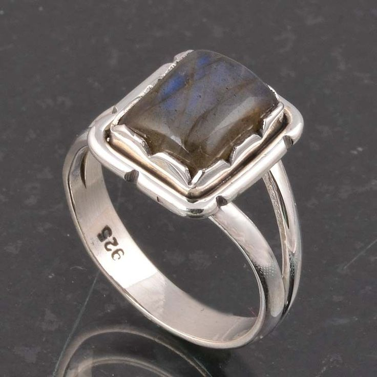 BLUE FIRE LABRADORITE 925 SOLID STERLING SILVER FASHION RING 4.34g DJR6379 #Handmade #Ring