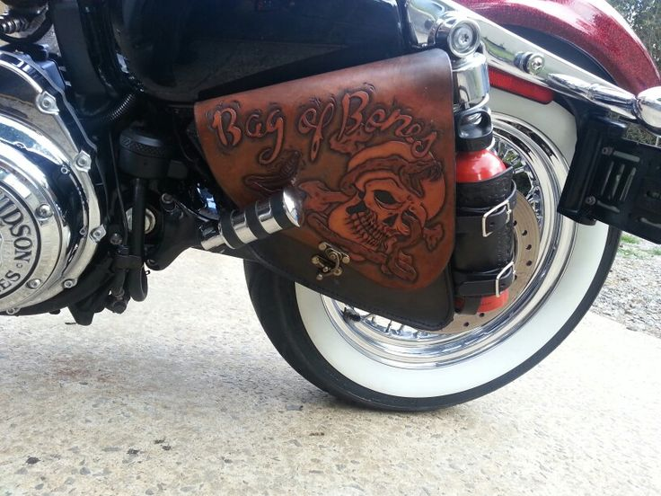 Swing Arm Bag Sportster Hand Made Leather Tooled Leather