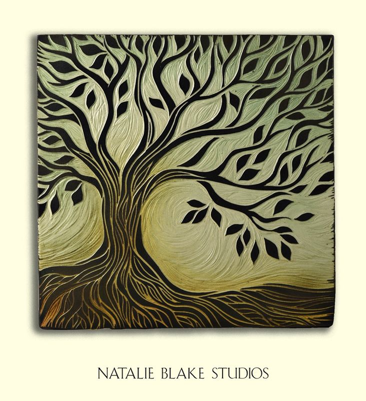 Tree of Life single handmade porcelain ceramic wall art tile