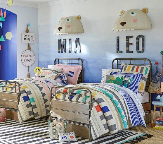 Margherita missoni for pottery barn kids linen patchwork quilted bedding gender neutral colorful bedroom boys bedding kids room ideas
