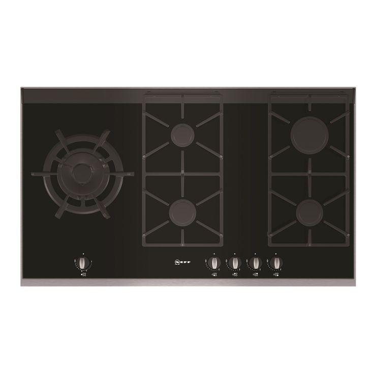 90cm wide 5 gas burners including 22MJ wok burner Black ceramic glass