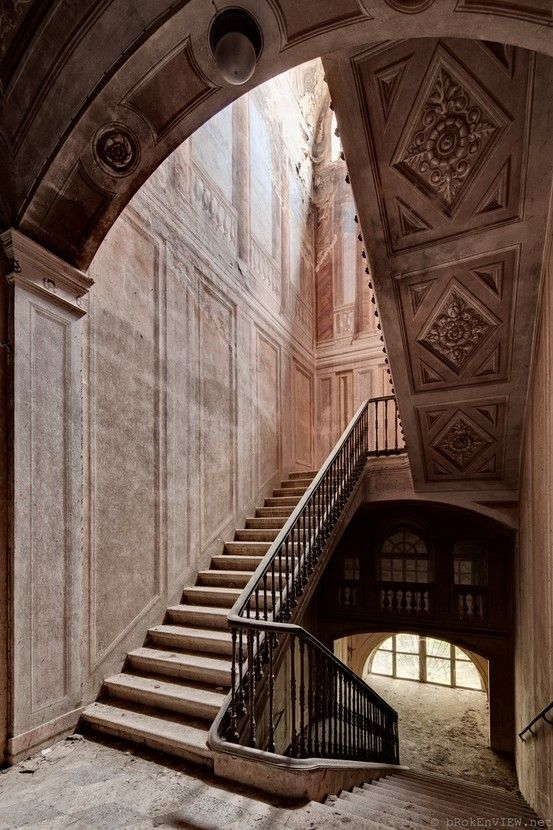 Amazing staircase in an abandoned castle in Italy