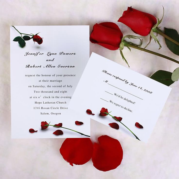 Simple Rose Wedding Invitations
