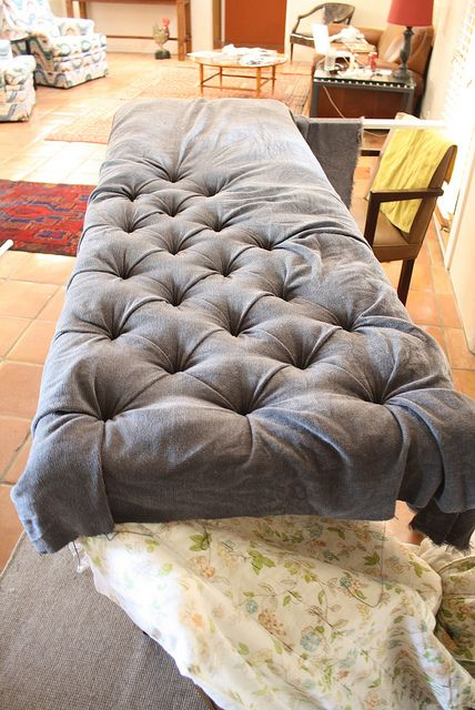 DIY Button Tufted Headboard- used as a bench cushion