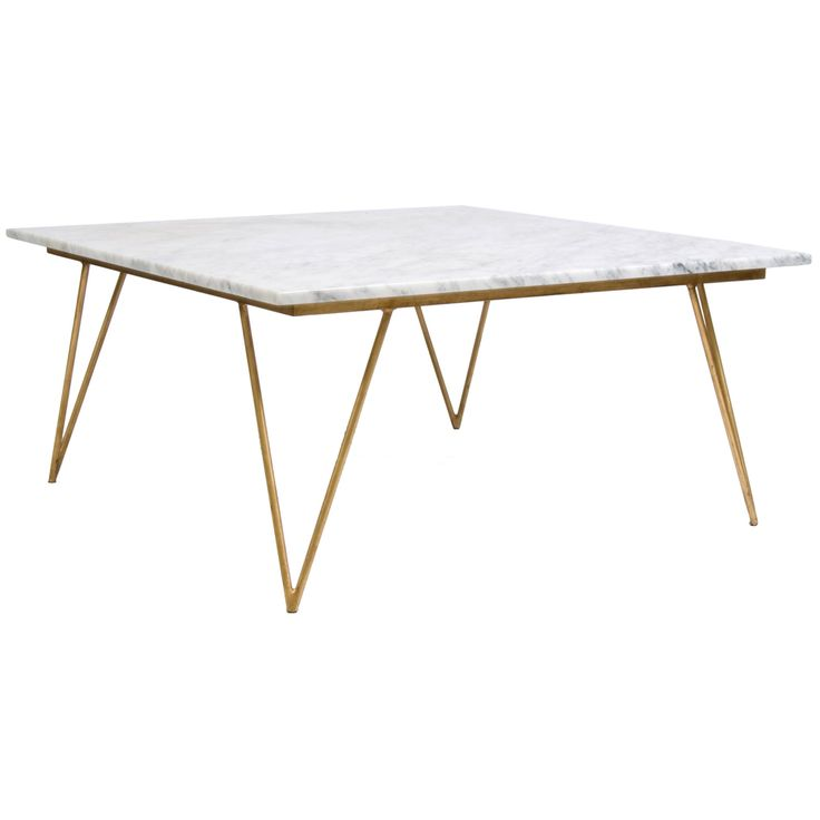 Worlds Away Neal Mid Century Style Hairpin Leg Umber Finished Gold Leaf  Coffee Table With Variegated White Marble Top. Natural Variations In Marble  Top Are ... Pictures