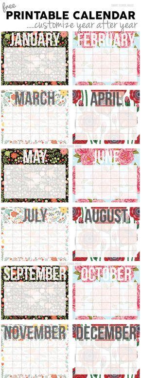 modelo de calendário fofo para imprimir