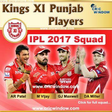 IPL 2017 Kings XI Punjab team http://www.cricwindow.com/ipl-10/kxip-squad-2017.html