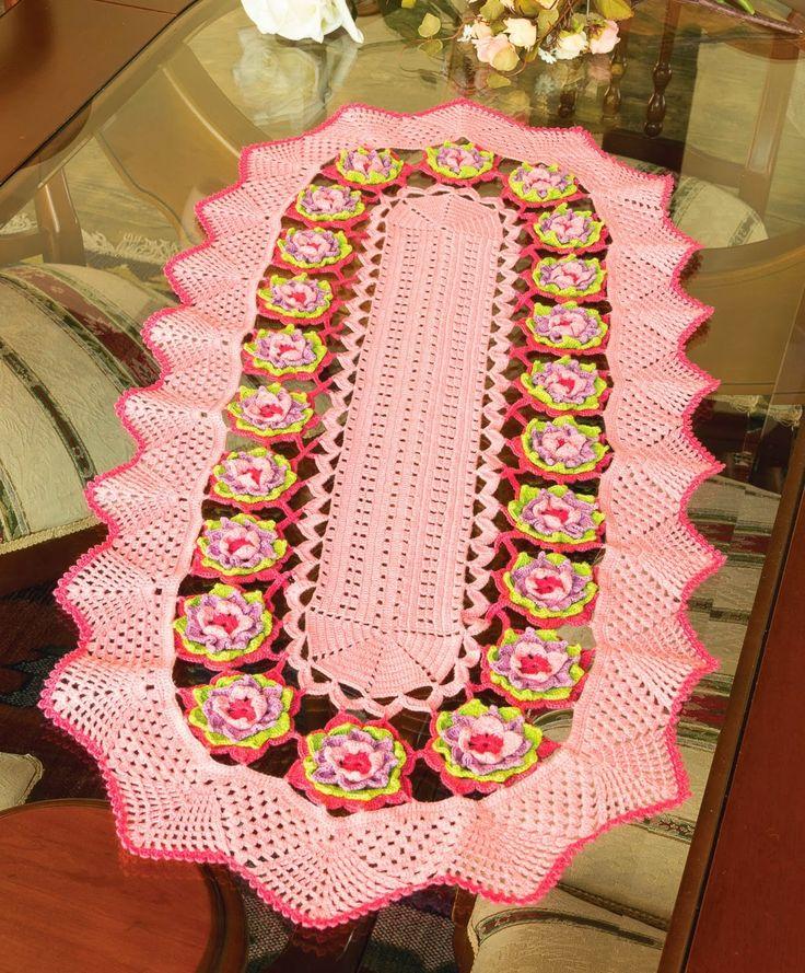 Flower Table Runner - Free Crochet Diagram - (ivana-toquemagico-ivana.blogspot)
