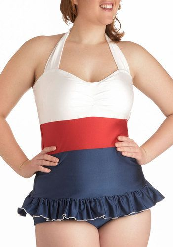 I'm an oversized t-shirt and leggings or long shorts kinda gal when it comes to swimming, but this is TOO CUTE of a plus size suit to not pin!! Love!   Pelagic Gal Two Piece in Plus Size by Fables by Barrie - Blue, White, Solid, Beach/Resort, Pinup, Nautical, Vintage Inspired, 40s, 50s, 60s, Summer