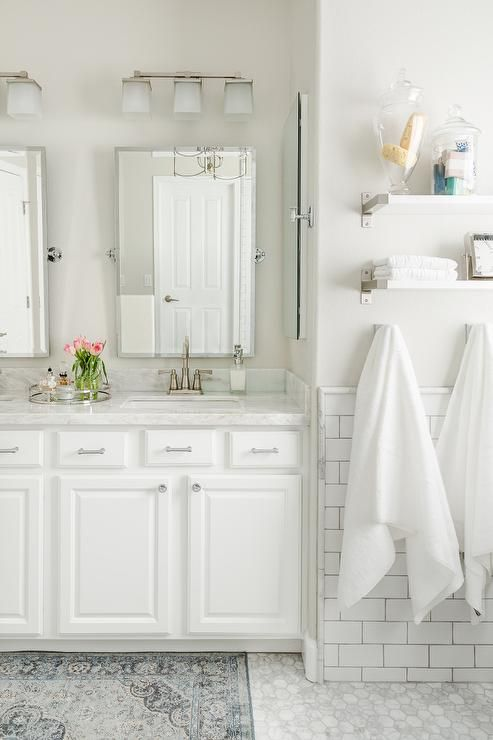 Topped With White Marble Farming His And Hers Sinks And