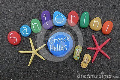 Souvenir of the beautiful greek island of Santorini with multicolored stones