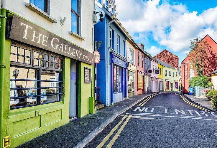 Kinsale, Ireland coloured shop fronts on Main Street.