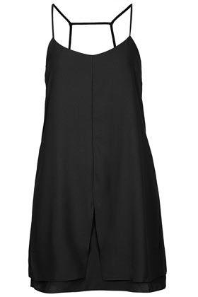 Strap Back Slip Dress - Black crepe slip dress with back strap detail. Length 87cm. 100% Polyester. Machine washable.