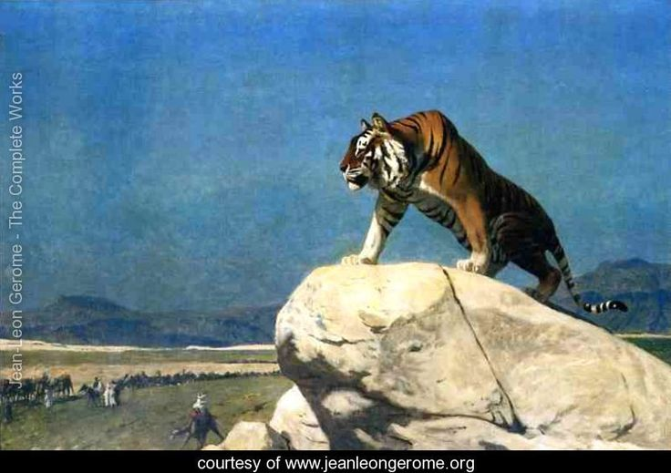 Tiger On The Watch Ii - Jean-Léon Gérôme - www.jeanleongerome.org