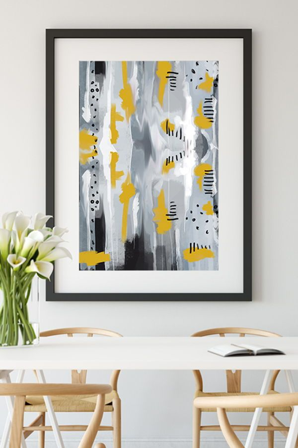 A Lovely Abstract Wall Art Print In Mustard Yellow And Grey Shades Bold And Elegant Look Gives Effortless And Ar Yellow Wall Art Wall Art Prints Grey Wall Art