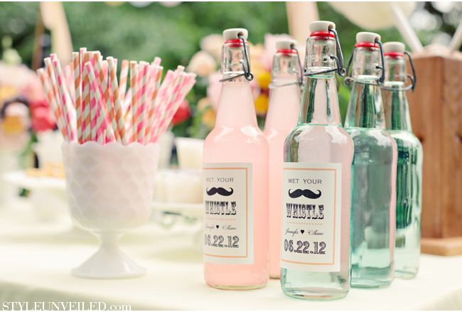 Wet your whistle with these fabulous mustache labels on glass bottle drinks.  Vintage Carnival Wedding Ideas