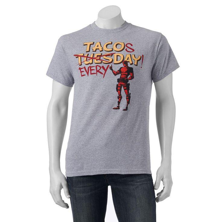 Men's Marvel Deadpool Taco Tee, Size: Small, Light Grey