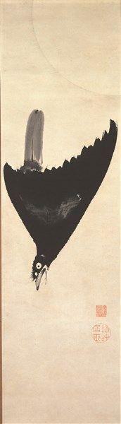 Ito Jakuchu. Falling bird. Japanese hanging scroll. Edo period. Japan. 月に叭々鳥図 伊藤若冲