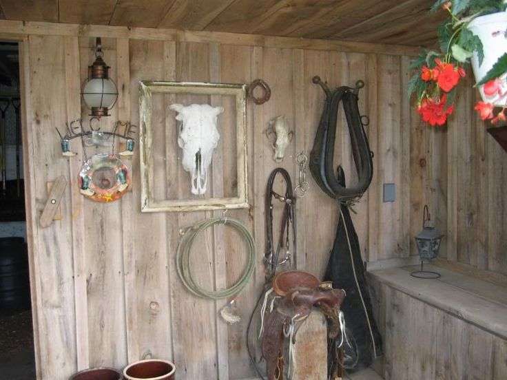 Western Themed Decorations On Porch Of Shed
