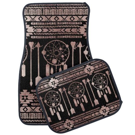 Dreamcatcher Rose Gold Tribal Aztec on Black Car Floor Mat   Zazzle.com