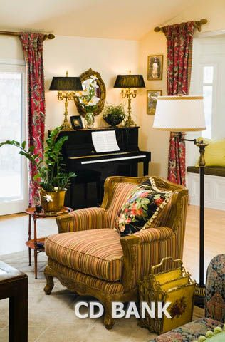 Upright Piano in Corner of Living Room - Royalty Free Stock Photo