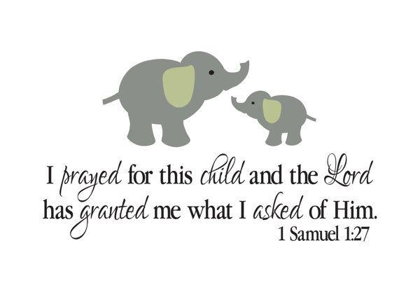 """1 Samuel 01.27 Bibbia Scritture versetto Vinyl Decal con elefante famiglia 20,5"""" hx 36"""" w"""