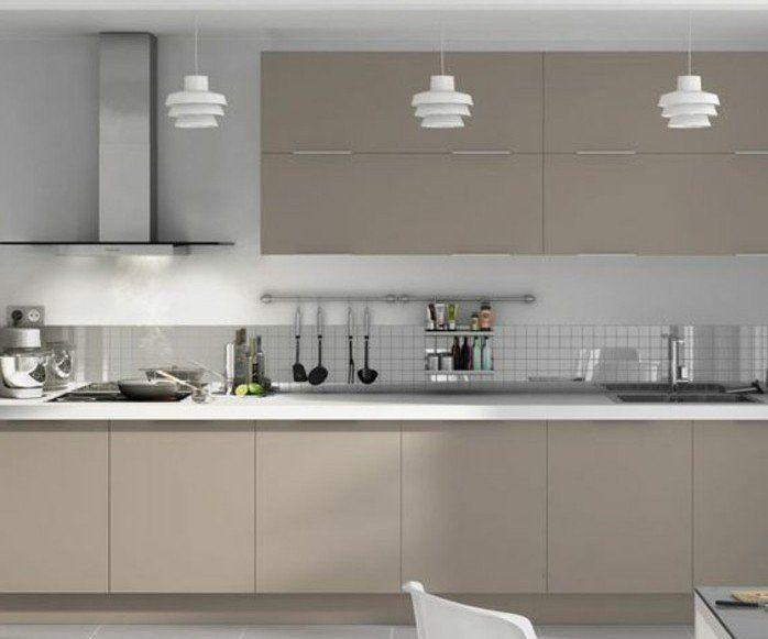 cuisine blanche et grise meuble de cuisine couleur gris taupe dco sobre et moderne - Cuisine Blanc Gris Taupe