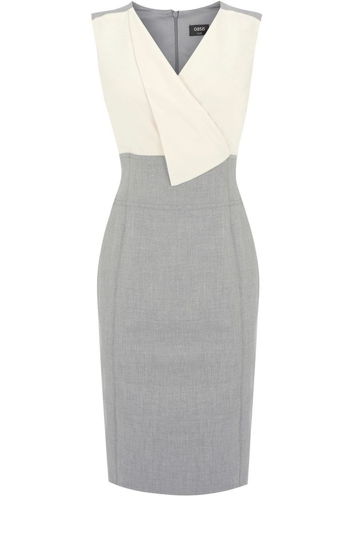 Women's Fold Front 2 In 1 Dress, Grey