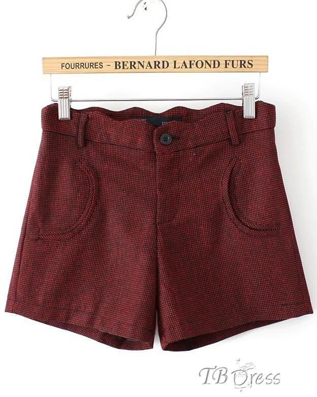 New Fashion Fancy Korean Plaid Pockets Woolen Flower Waist Slim Shorts : Tbdress.com