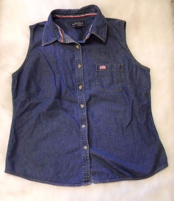 Women's Size L Blue Jean Denim Vest Red White Blue July 4 American Flag Sonoma M #Sonoma #Casual