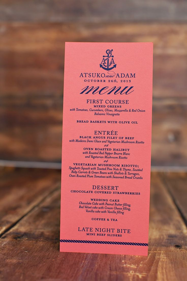 Navy and coral reception menu for a
