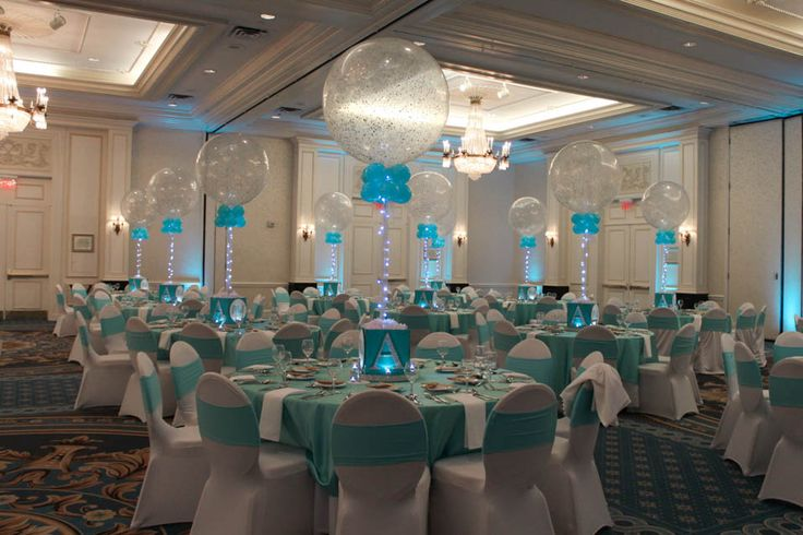 Tiffany Colored Bat Mitzvah Decor with Sparkle Balloon Centerpieces at The Hilton, Woodcliff Lake, NJ