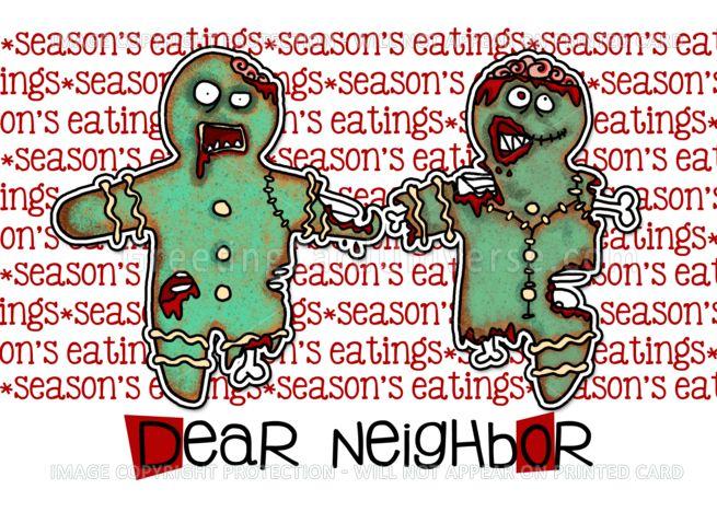 For Neighbor Zombie Christmas Season S Eatings Card Zombie