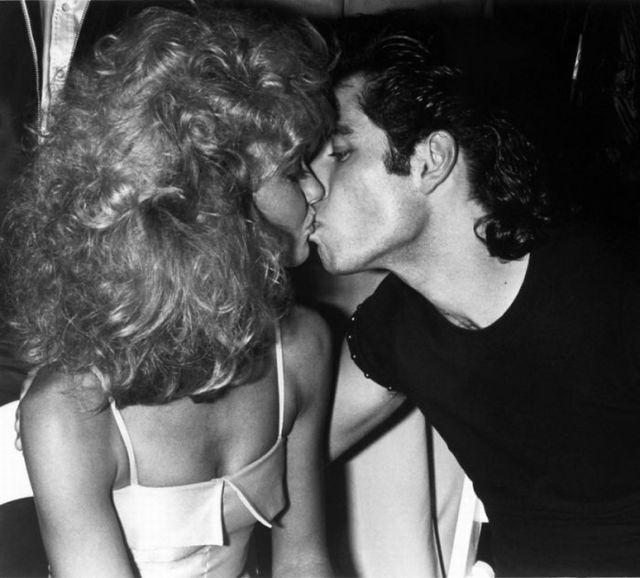 John Travolta kissing Olivia Newton-John