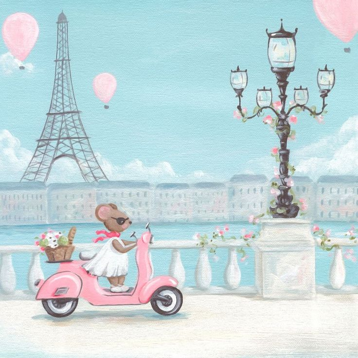 A chic Parisian mouse rides in style on an absolutely perfect spring day in France on this feminine wall art for children. Miss Mouse's route along the Seine has the best view of pretty, pink hot air