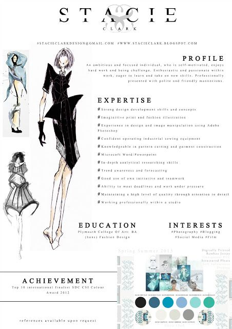 Fashion CV example and how it was created http://stacieclark.blogspot.co.uk/2013/05/creative-cv_17.html