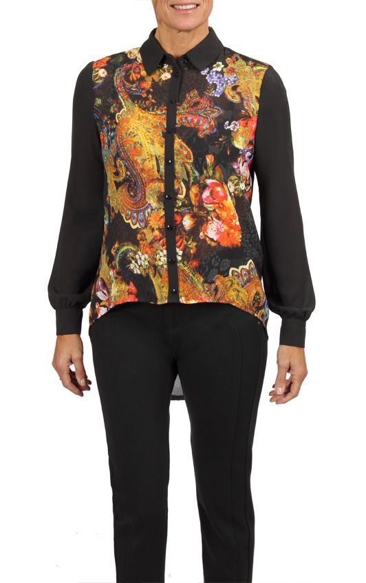 Floral Print High Low Blouse- Only available in stores! To find a store near you, visit our website www.cartise.com. #highlow #floralprint #blouse #Contrastcollar #Cartise #coloryourlife