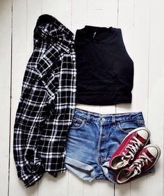 Outfit #515- black halter crop top (forever 21, $17.90)- black plaid shirt (charlotte russe, $11.99)- medium wash high waisted shorts (6pm, $19.99)- maroon converse (tilly's, $54.99)total outfit price: $104.87