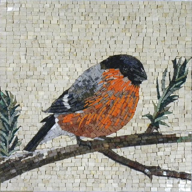 "Robin by Phoenician Arts;  made of all natural stones and hand-cut tiles;  20"" x 20"";  photo by Phoenician Arts, via Flickr"