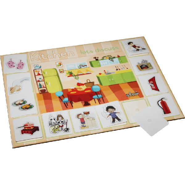 in-and-around-the-kitchen-game Can be used as a group or individual activity. The educator places an illustration card against the kitchen background board. Children take turns in discussing aspects of the illustration which are part of our daily lives.  On Wood