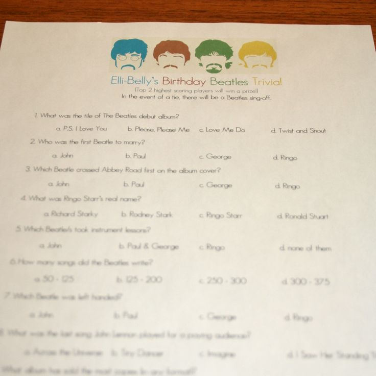 beatles birthday party! beatles trivia game... in the event of a tie, there will be a beatles sing-off!