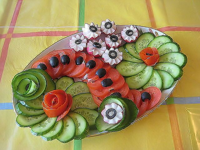 Tomato Cucumber Radish Serving Idea. Now this is a Great way to snack. Great eye appeal, healthy and high water content foods.