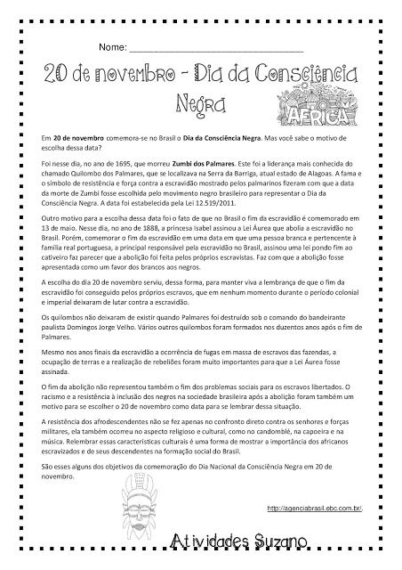 20 de novembro- Dia da Consciência Negra. - Atividades Adriana