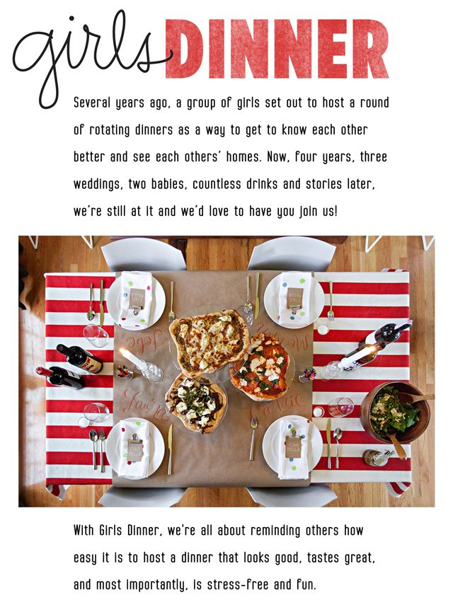 girls dinner // pizza party - love this Idea for girl's night