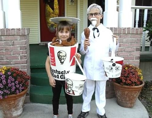 kentucky fried chicken kfc colonel sanders and bucket costume couple - Kids Halloween Costumes Pinterest