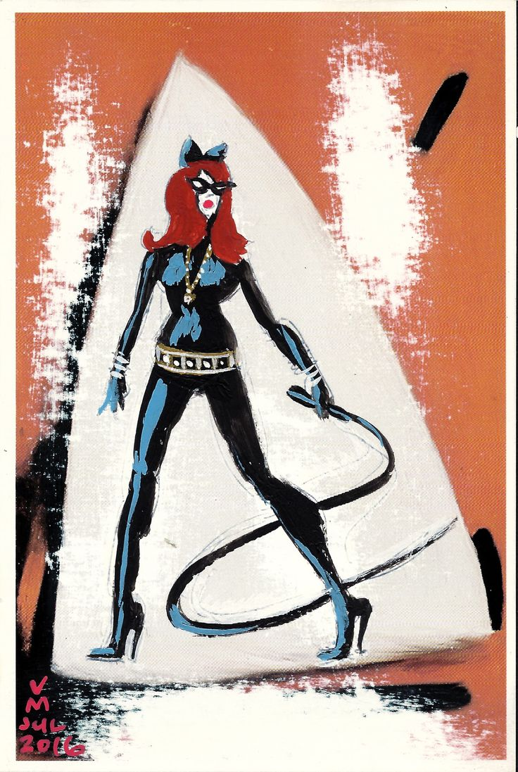 Catwoman, post card painting #9, created by #artist Vince Mancuso
