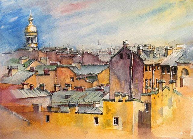 #roofs #roofspb #usk #urbanart #urbansketchers #watercolor