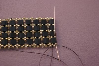 A Free and Fancy Tile Bead Bracelet Beading Pattern: Bracelet Body and Adding the Clasp...13 of 14