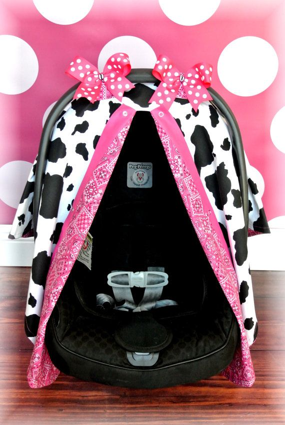 Car Seat Canopy Cover COWBOY HOT PINK By JaydenandOlivia